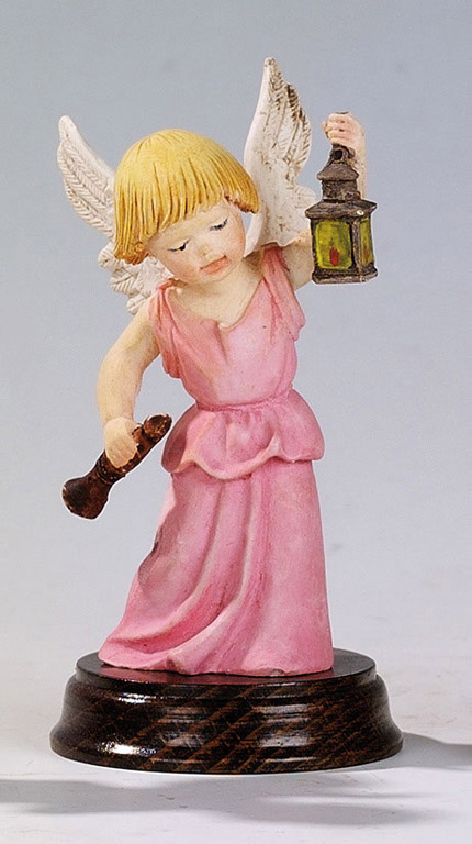 Angel with Flute - Made in Italy, Hand Painted Statue, 4.7' Inches