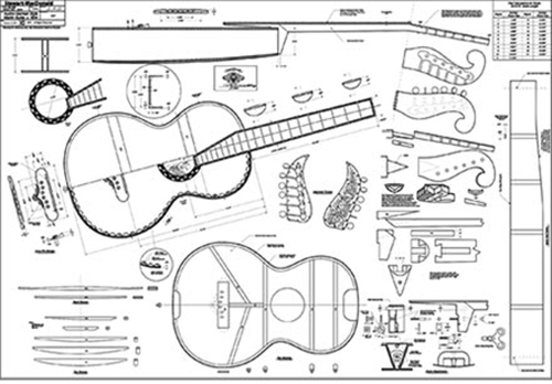 "Austro-German Martin Guitar Full-Scale 36"" x 52"" Plan"