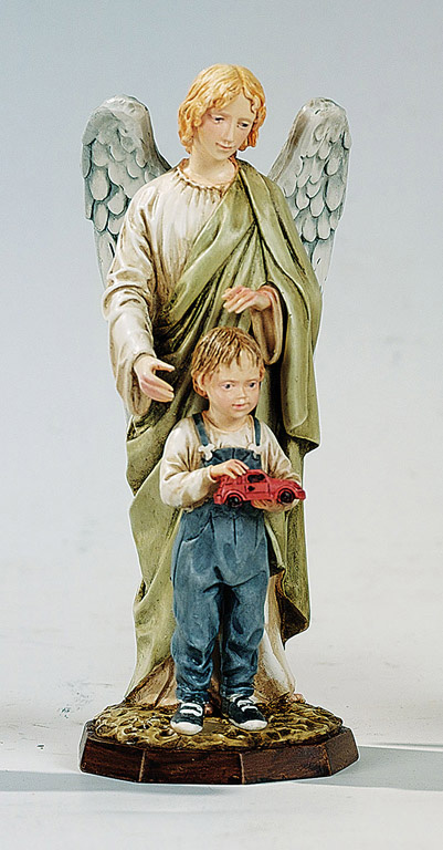 Guardian Angel with Boy - Made in Italy, Hand Painted Statue, 6.7' Inches