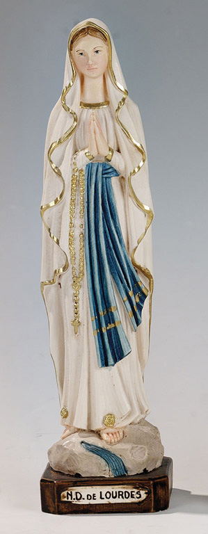 Our Lady of Lourdes Statue - Made in Italy, Hand Painted,  9.8' Inches