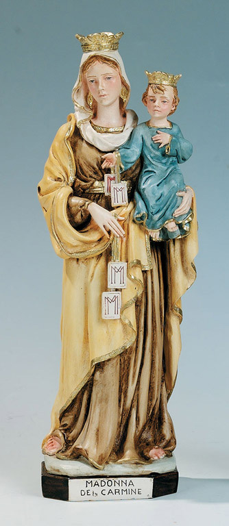 Our Lady of Mount Carmel Statue - Made in Italy, Hand Painted,  7.8' Inches