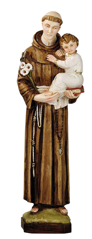 Saint Anthony Statue - Made in Italy, Hand Painted, 12.9' Inches