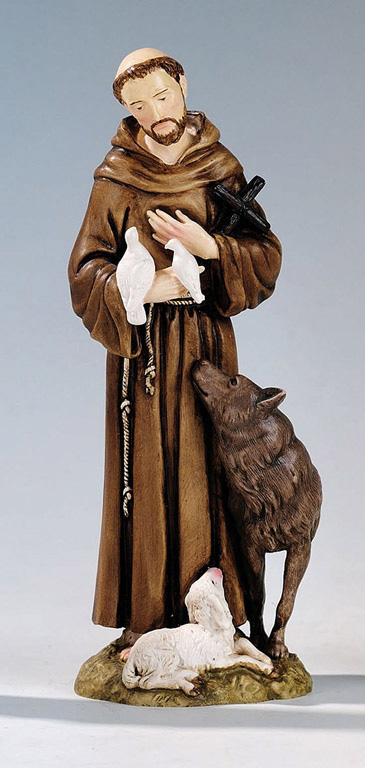 Saint Francis with Wolf Statue - Made in Italy, Hand Painted, 6.2' Inches