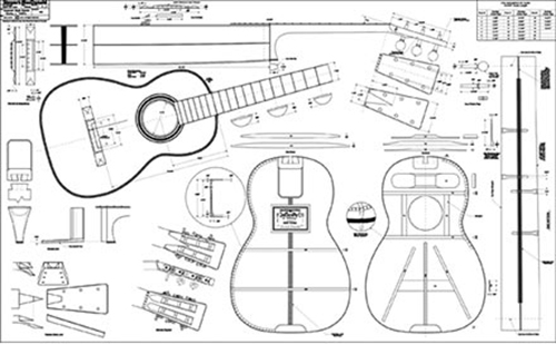"Spanish-style Martin Guitar Full-Scale 36"" x 58"" Plan"