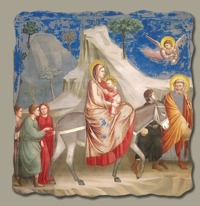 Flight into Egypt by Giotto, Italian-Made Fresco Reproduction on Plaster, 7 1/2 x 7 x 3/8 inches