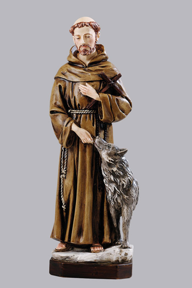 Saint Francis with Wolf Statue - Made in Italy, Hand Painted, 11.8' Inches