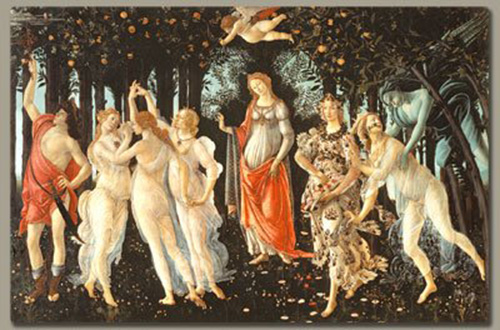 The Allegory of Spring by Botticelli, Italian-Made Fresco Reproduction on Plaster, 6 x 7 ¾ x 3/8 inches
