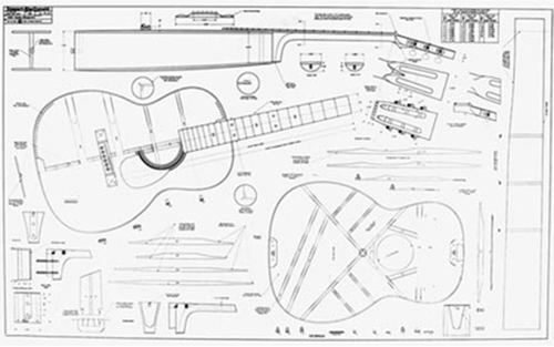 "000 Full-Scale 36"" x 58"" Guitar Plan"