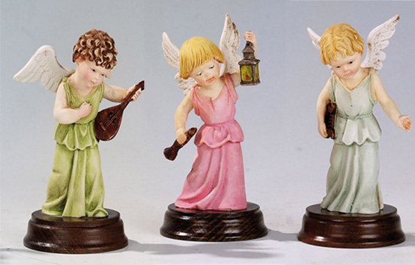 Angels with Musical Instruments - Hand painted, Made in Italy. 3 Piece Set, 4.7' Inches Each