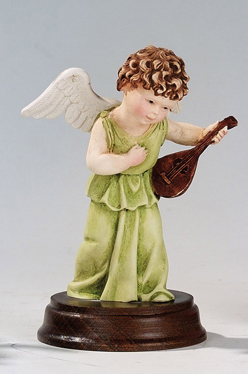 Angel with Mandolin - Made in Italy, Hand Painted Statue, 4.7' Inches