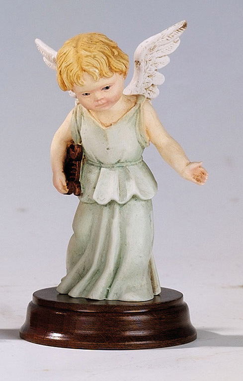 Angel with Lyre - Made in Italy, Hand Painted Statue, 4.7' Inches