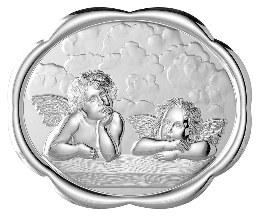 Oval Shaped Cherubs Wall Plaque with Stand