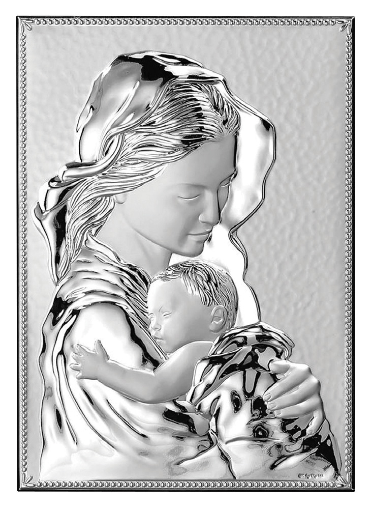 Virgin Mary with Baby Jesus Wall Plaque with Stand