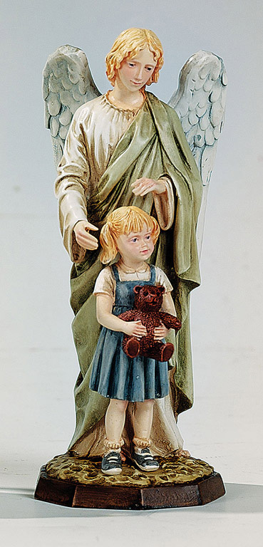 Guardian Angel with Girl - Made in Italy, Hand Painted Statue, 6.7' Inches