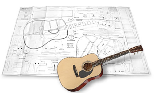 "Herringbone Guitar Full-Scale 36"" x 58"" Plan"