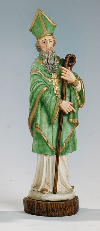 Saint Patrick Statue - Made in Italy, Hand Painted, 7.8' Inches