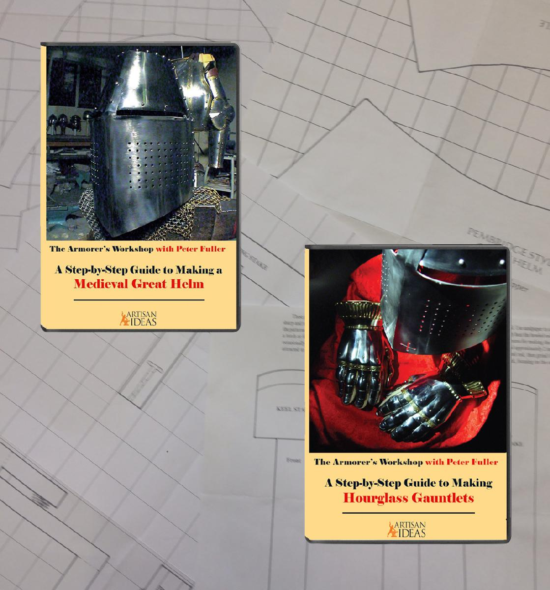 The Armorer's Workshop Set: Making a Great Helm plus Making Gauntlets (4 Disc Set with Full-Scale Paper Templates)