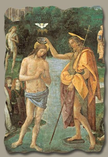 Baptism of Christ (Detail) by Perugino, Italian-Made Fresco Reproduction on Plaster 6 x 7 ¾ x 3/8 Inches