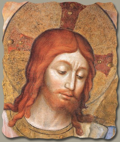 Christ the Judge (Face Detail) by Fra Angelico, Italian-Made Fresco Reproduction on Plaster, 4 ¼ x 5 ½ x 3/8 inches
