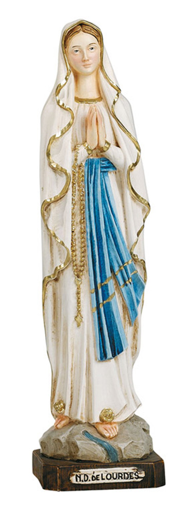 Our Lady of Lourdes Statue - Made in Italy, Hand Painted, 13.3' Inches