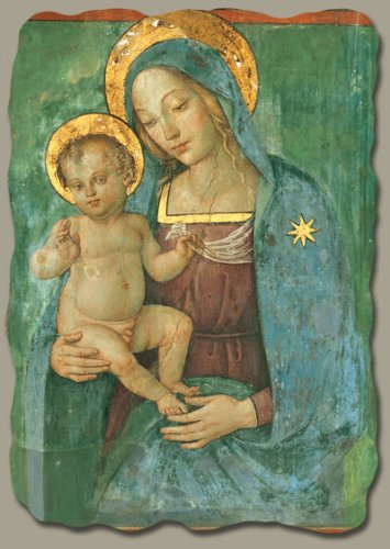 Madonna with Child by Pinturicchio, Italian-Made Fresco Reproduction on Plaster, 6 x 7 ¾ x 3/8 inches